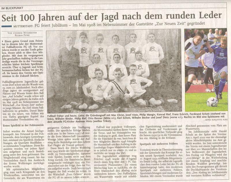 Rheinpfalz 100 Jahre FG 08