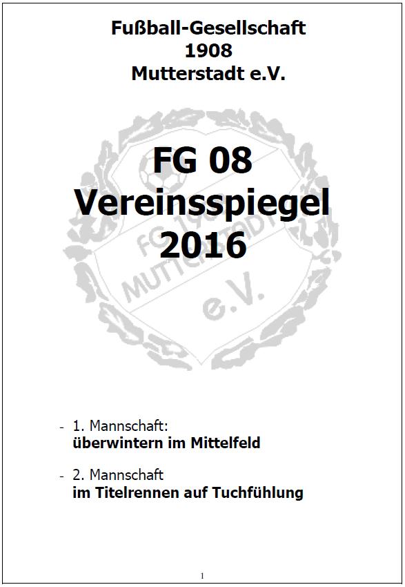 FG08 Vereinsspiegel 2016